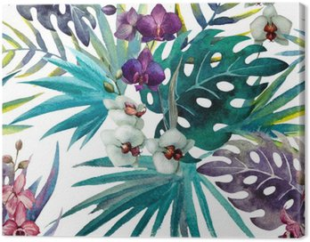Canvas Print pattern orchid hibiscus leaves watercolor tropics