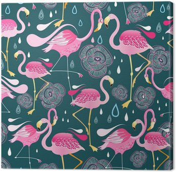pattern with flamingos Canvas Print