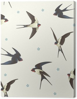 Pattern with swallows Canvas Print
