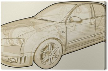 Perspective sketchy illustration of an Audi A4.