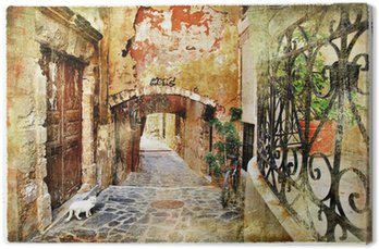 Canvas Print pictorial old streets of Greece, Crete