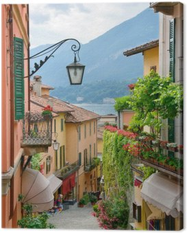 Canvas Print Picturesque small town street view in Lake Como Italy