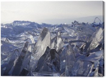 Pieces of ice glisten in the sun. Lake Baikal, Russia. Canvas Print