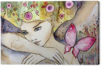 Canvas Print piękna dziewczyna z motylem
