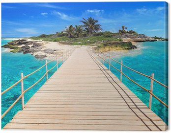 Canvas Print Pier to the tropical island of Caribbean Sea