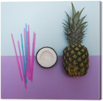 pineapple and half of coconut for party with straws in pastel Canvas Print