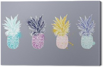 Canvas Print Pineapple tropical fruit. Vector object.