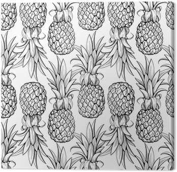 Pineapples seamless pattern Canvas Print