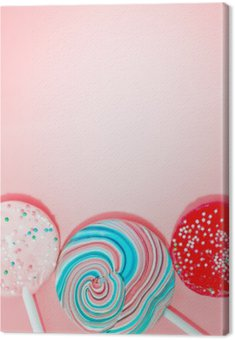 Pink Background With Colored Candy