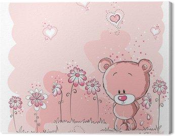 Pink cute bear holding a flower
