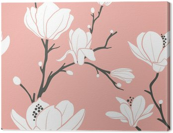 pink magnolia pattern Canvas Print
