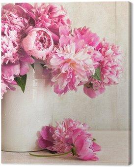 Canvas Print Pink peonies in vase