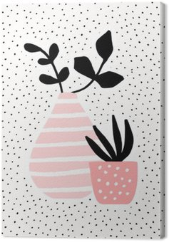 Pink Vase and Pot with Plants Canvas Print