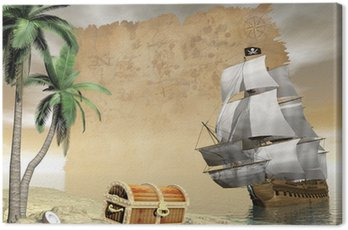 Canvas Print Pirate ship finding treasure - 3D render