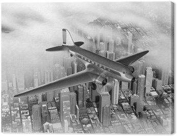 Canvas Print Plane Over City