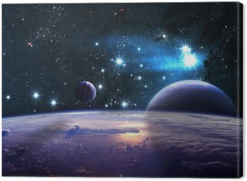 Canvas Print Planets over the nebulae in space