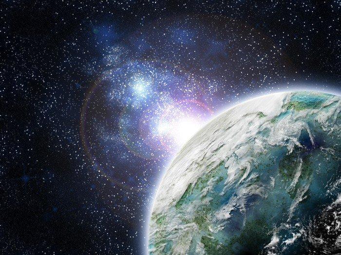 Canvas Print planette dans galaxie - Universe