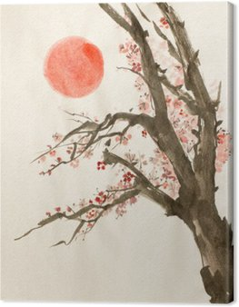 plum tree red sun