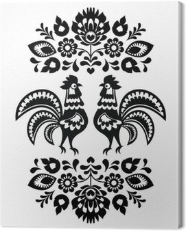 Canvas Print Polish ethnic floral embroidery with roosters in black and white