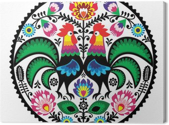 Canvas Print Polish floral embroidery with roosters folk pattern