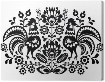 Canvas Print Polish floral embroidery with roosters pattern