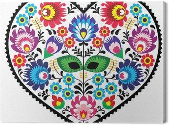 Canvas Print Polish folk art art heart with flowers - wzory lowickie