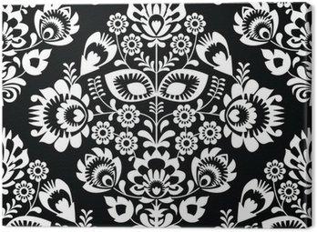 Polish folk art white seamless pattern on black - wzory lowickie