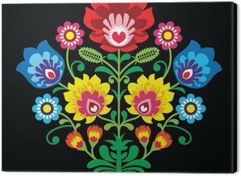 Canvas Print Polish folk embroidery with flowers - traditional pattern