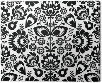 Canvas Print Polish folk seamless pattern in black and white