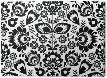 Polish folk seamless pattern in black and white