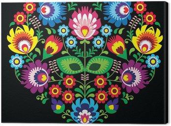 Polish, Slavic folk art art heart on black - wycinanka