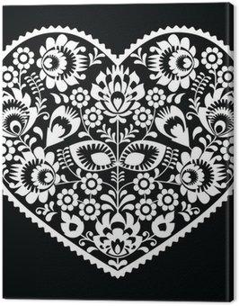 Canvas Print Polish white folk art heart pattern on black - wzory lowickie