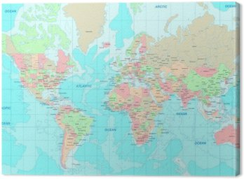 Canvas Print Political World map