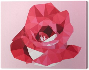 Canvas Print polygonal red rose. poly low geometric triangle flower vector