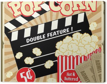 Canvas Print Popcorn with clapper board and movie tickets vintage poster