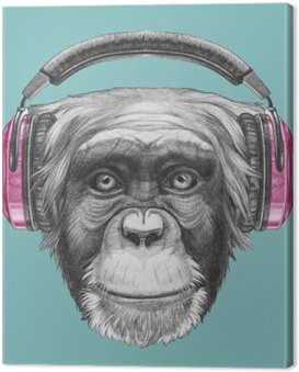 Canvas Print Portrait of Monkey with headphones. Hand drawn illustration.