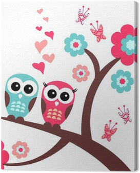 Pretty romantic card with owls Canvas Print