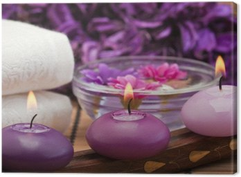 Canvas Print purple candles and flowers in spa setting (1)