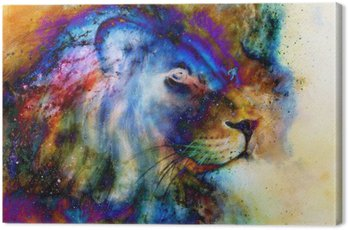 Canvas Print rainbow lion on beautiful colorful background with hint of space feeling, lion profile portrait.