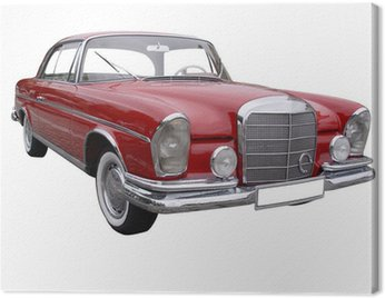 Canvas Print Red car Mercedes with rain drops on it
