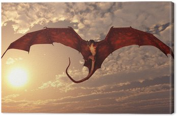 Canvas Print Red Dragon Attacking from a Sunset Sky