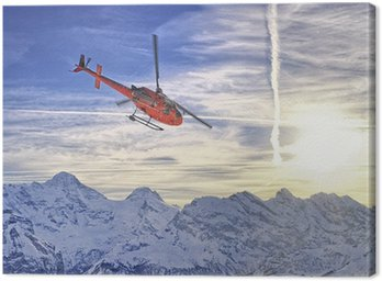 Canvas Print Red helicopter at swiss alps near Jungfrau mountain
