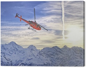 Red helicopter at swiss alps near Jungfrau mountain