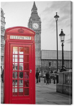 Canvas Print Red phone booth in London with the Big Ben in black and white