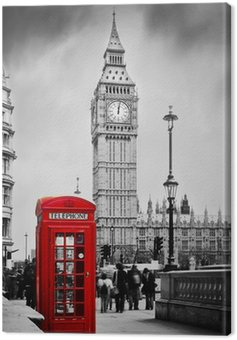 Canvas Print Red telephone booth and Big Ben in London, England, the UK.