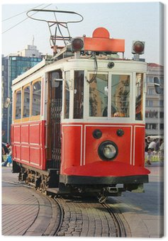 Red vintage tram in Istanbul