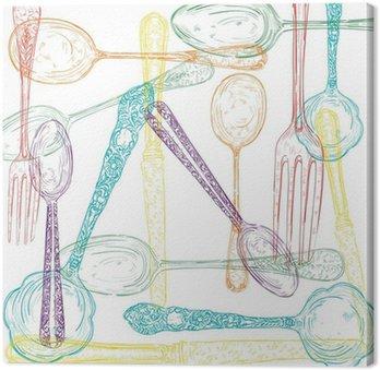 Retro cutlery sketch style set.