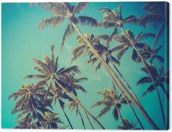Canvas Print Retro Diagonal Palm Trees In Hawaii