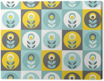 Canvas Print Retro floral pattern, geometric seamless flowers