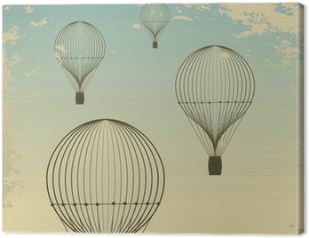 Retro hot air balloon sky background old paper texture. Vintage